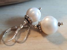 PEARLY - Perlenohrringe - weiss-Silber - rund Pearl Earrings, Pearls, Jewelry, Round Round, Silver, Nice Asses, Pearl Studs, Jewlery, Jewerly