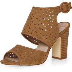 Dorothy Perkins Tan 'Sevanah' Lazer Cut Sandals ($27) ❤ liked on Polyvore