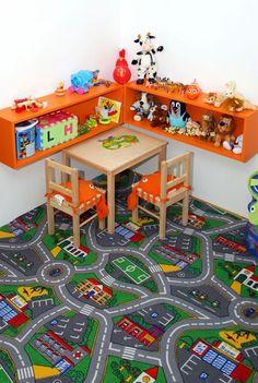 what a carpet!!! love this cornerin a child room #childroom #rug Estantes flotantes así en la pared 3 del cuarto justo al lado de la cama