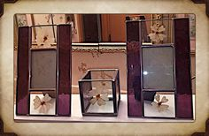 Vintage Purple Stained Leased Glass Picture Frames w/Dried Pressed Flowers Etc..  | eBay
