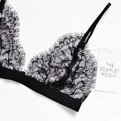 Beautiful lingerie black sheer lace bralette by the scarlet room. Belle Lingerie, Pretty Lingerie, Beautiful Lingerie, Sexy Lingerie, Beautiful Dresses, Lingerie Sleepwear, Nightwear, Estilo Fashion, Mode Inspiration