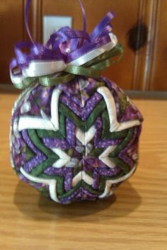 Purple quilted Christmas ornament