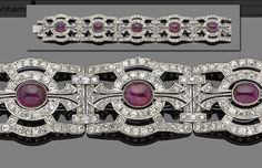 This #ruby and #diamond bracelet features old brilliant and single-cut diamond openwork rectangular plaques, each collet-set to the center with an oval cabochon ruby, millegrain-set throughout, diamonds approx. 9.85tcw. The Gem & Pearl Laboratory the rubies to be natural, of Burmese origin, with no evidence of heat treatment. Bonhams London will auction this (lot 302) with a presale estimate of $9,200 to $11,000.