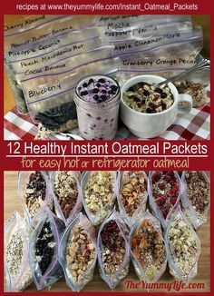 Healthy Instant Oatmeal Packets - Refrigerator - Trending Refrigerator for sales. - diy healthy instant oatmeal packets to use for making hot or refrigerator oatmeal Comidas Fitness, Oatmeal Packets, Clean Eating, Healthy Eating, Healthy Camping Meals, Healthy Breakfasts, Healthy Camping Snacks, Healthy Travel Food, Campfire Snacks
