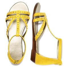 """Strappy and colorful, these rhinestone-studded faux-suede sandals update your look for the season. Features an ankle strap with back zipper for easy on/off and one strap going down the vamp. Whole sizes only. Half sizes, order one size down. · Polyester · Heel: 1"""" H · Cleaning: Wipe with a dry cloth · Imported"""