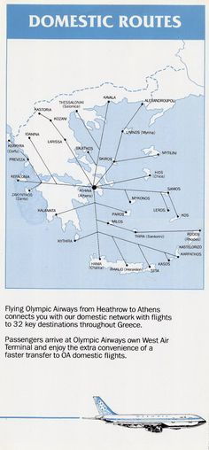 Olympic Airways Domestic Routes 1988