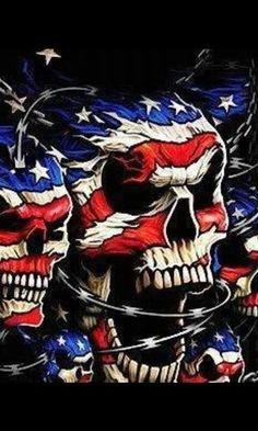 Cool Tshirt Patriotic Skulls Barb Wire Breakthrough American Flag USA Bike