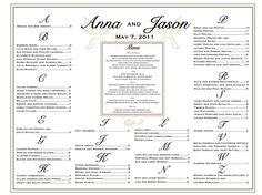 Seating Chart Wedding Menu Wedding Seating by CharmingPaperShop, $49.00
