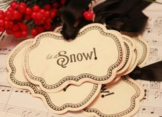 Christmas Tags (Doubled Layered) - Let it Snow  - Handmade Vintage Inspired Christmas Gift Tags - Vintage Winter Tags