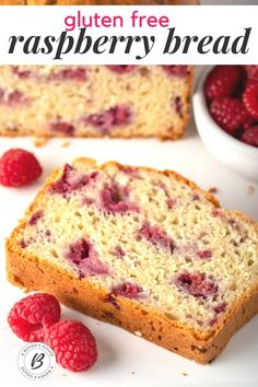 This raspberry bread recipe comes together in about an hour like most quick breads. Fresh raspberries or frozen raspberries may be used in this bread recipe and they add a sweetness and color that make this a recipe to keep handy. Make this bread recipe gluten free with the easy substitution of a gluten free flour blend. #glutenfree #raspberryloaf #raspberry #bread #easy Raspberry Recipes Gluten Free, Raspberry Quick Bread, Raspberry Breakfast, Raspberry Muffins, Healthy Gluten Free Recipes, Quick Bread Recipes, Gluten Free Desserts, Healthy Baking, Baking Recipes