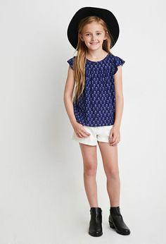 Girls Floral Cap-Sleeved Top (Kids)