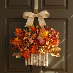 beautiful front door decoration fall wreath ideas autumn leaves basket