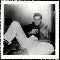 "Elvis Presley on the Sunset Limited train from Los Angeles to Memphis - March 13, 1958 | Photo credit: Sandie Kaye Stevens: ""The train Elvis road on was The Sunset Limited as I went on with him untill it left LA!"""