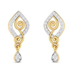 Lassie Diamond Studded Gold Earrings