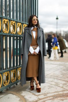 Street Chic: Style from Paris. Grey long coat. camel dress & white shirt