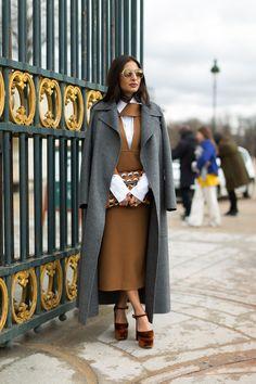 Street Chic: Style from Paris. Grey long coat. camel dress & white shirt