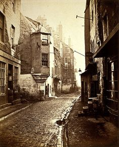 Street (the Cowgate) in Old Edinburgh, 1868 by Archibald Burns Via National Galleries of Scotland Commons Old Pictures, Old Photos, Vintage Photos, Street Pictures, Glasgow, Old Town Edinburgh, Victorian London, Vintage London, Victorian Era