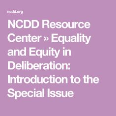 The article, Equality and Equity in Deliberation: Introduction to the Special Issue was written by Carolyne Abdullah, Christopher Karpowitz, and Chad Raphael, and published in the J… Reading Lists, Problem Solving, Equality, Public, Engagement, Social Equality, Playlists, Engagements, Equation