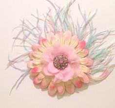 Pink Rainbow Hair Flower Feather Fascinator, Spring Flower Hair clip, Pastel Pink Flower Clip, Bridal Flower Girl Feather Hair Clip, Easter by FancyGirlBoutiqueNYC on Etsy