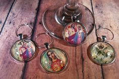 Religious Jesus & Mary Wine Glass Charms - Set of 4