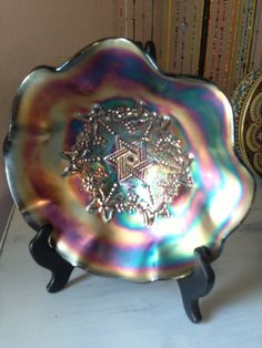 Star of David and Bows bowl Northwood Carnival purple