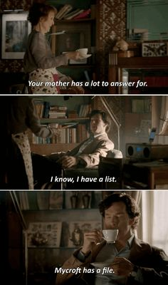 """Sherlock thought his morning tea """"just sort of happened"""". Hudson thinks his mother has a lot to answer for. Sherlock has a list and Mycroft has a file. Sherlock Bored, Sherlock Fandom, Sherlock Quotes, Netflix Tv Shows, Sherlock Holmes Bbc, Enola Holmes, Great Tv Shows, Johnlock, Marvel Memes"""