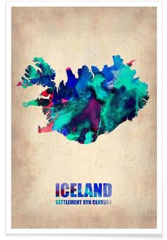Iceland Watercolor Map en Tirage d'art premium
