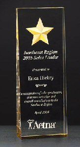 """Constellation Wedge Clear Acrylic - Constellation Series Clear tapered from 1-1/8"""" to 7/16"""" self standing acrylic award. Striking etched star with gold paint-fill and mirrored bottom gives this award a dazzing look. Free detailed reverse laser engraving on this acrylic adds dimension to this eye catching award. https://www.wrightplaque.com/product/119/Acrylic-Awards"""