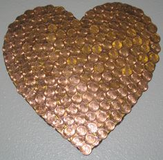 Have you seen amazing DIY projects you can make with coins? All Heart, I Love Heart, Heart Art, Penny Decor, Coin Crafts, Pennies From Heaven, Coin Art, Copper Art, Love Symbols