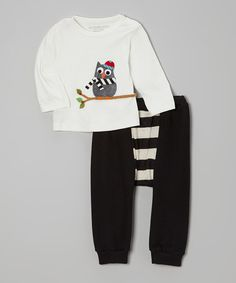 Look at this Victoria Kids Off-White Owl Tee & Black Stripe Pants - Infant & Toddler on #zulily today!