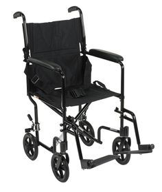 """Drive ATC series 17"""" Aluminum Transport chair. Product Summary:     Weighs only 19 lbs.   Aluminum frame is lightweight and strong.   Composite 8"""" wheels are lightweight and maintenance free.   Both 17"""" and 19"""" come with swing-away footrests.   Comes with seat belt for added safety.   Padded armrests provide additional comfort.   Nylon upholstery is comfortable, lightweight and easy to clean. Back folds down for storage and transport.   Aluminum casted back-release hinge allows back to…"""