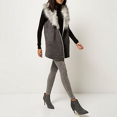 Dark grey knitted faux fur gilet - cardigans - knitwear - women