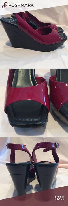 Jessica Simpson Wedges New without tags! Super cool futuristic, Jessica Simpson brand, shiny cranberry red and black wedges. These features a narrow square peep toe and a sling back heel strap. The wedge is super lightweight and made out of plastic. Size 8 the heel is 4 1/2 inches tall and the platform is 1/2 inches. Jessica Simpson Shoes Wedges