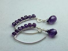 Amethyst Earrings Wire Wrapped Amethyst Genuine by CaveGemstones, $42.00