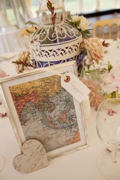 Wedding table numbers | wedding table name ideas. places where the married couple have previously visited