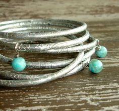 Silver Stacked Bracelet Set: Bohemian Indian Jewelry, Turquoise and Silver Bangles, Boho Engraved Bracelets, Gypsy Jewelry, India, Set of 6, by DelhiDaze, $20.00