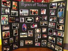 I used a trifold cardboard posterboard and decorated it with pictures of my son from birth to senior year. I backed each picture with construction pap. Graduation Picture Boards, Graduation Pictures, Graduation Ideas, High School Graduation, Graduate School, Trunk Party, Graduation Decorations, Graduation Party Centerpieces, Graduation Celebration