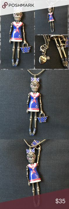 Authentic Betsey Johnson Sailor Skeleton Girl Authentic brand Betsey Johnson necklace featuring a nautical sailor bedazzled skeleton girl with a purse, shiny jewels, bow, ballerina shoes and sailor dress in pink and blue with heart eyes. Head, limbs, and purse are all able to move. Chain is very long and nice quality. Now and bag features polka dots. I have several other BJ items up for sale, I bundle at 20% off and ship next day, let me know if you are interested. Great for pinup…