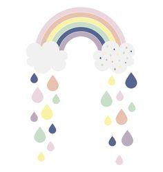 Rainbow and Raindrops - pastels.