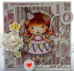 Card by Anne-Maree Campbell featuring Club La-La Land Crafts (May 2015) exclusive Celebrate You Marci, Time to Celebrate Stamp Set and these Dies - Balloons Dies (Set of 3), Celebrate You words Die, Numbers Dies and Fancy Label Die :-)   Club La-La Land Crafts subscription details are here - http://lalalandcrafts.com/Club_La-La_Land_Crafts.html    Coloring details and more Design Team inspiration here - http://lalalandcrafts.blogspot.ie/2015/06/club-la-la-land-crafts-may-2015_9.html