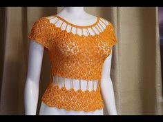Blusa tejida a crochet todas las tallas  - tutorial paso a paso - facil y rapido # 4 - YouTube