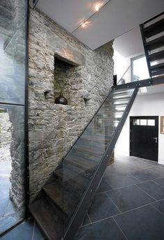 Glasgeländer Treppe Rustikal Stein Rustic, Stones