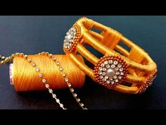 How To Make//Silk Thread Bangles//At Home// Useful & Easy hi viewers so today i am gonna show you how to make this beautiful and new design silk thread kada . Silk Thread Bangles Design, Silk Thread Necklace, Silk Bangles, Bridal Bangles, Thread Jewellery, Fabric Jewelry, Cuff Bracelets, Bangles Making, Bangle Set