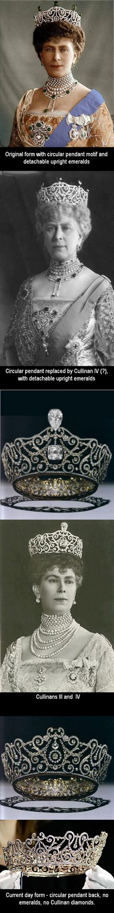 """The Delhi Durbar Tiara - by Garrards, for Queen Mary for the Delhi Durbar on December 12,1911. Durbar is Hindi, for a 'ceremonial gathering to pay homage'. The gathering was to install King George V and Queen Mary as Emperor and Empress of India. King George V admired this piece and referred to it as """"May's best tiara"""". It has been worn in a variety of  ways as shown here."""