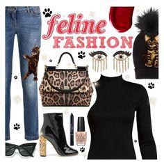 """Feline Fashion"" by sanssoucistores ❤ liked on Polyvore featuring Dolce&Gabbana, Sans Souci, LULUS, OPI, Christian Dior, Sydney Evan, Kat Von D, polyvorecontest, catstyle and polyvorefashion"