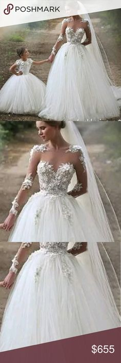 Applique Mother and daughter wedding gowns Jewelry flower ball bridal gowns. Plus sizes available Dresses Wedding