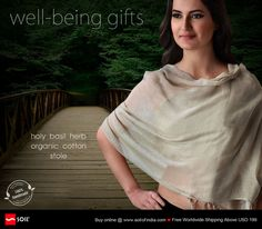 Wellbeing Fabrics. Holy Basil Herb Organic Cotton Stole. Pure organic cotton wellness stoles, hand spun, hand loomed with hand plucked organic cotton and then dyed in vats of organic herbs that give the fabric its natural shade and inimitable essence of its wellness qualities. All eco friendly and carbon neutral. Buy Online.Free Worldwide Shipping above USD199…