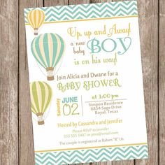 Boy Hot Air Balloon Baby Shower Invitation, up up and away, chevron baby shower invitation, brown, green, orange, printable,