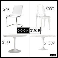 Oooh vs. Ouch: Lucite & Saarinen /   Ikea Tobias chair vs. Philippe Starck Victoria ghost chair   Ikea Docksta table vs. Eero Saarinen round table DWR