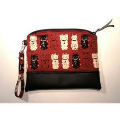 Maneki neko zipper pouch #zipperpouch #handmadebySerena #diy Etsy shop : HandmadebySerena